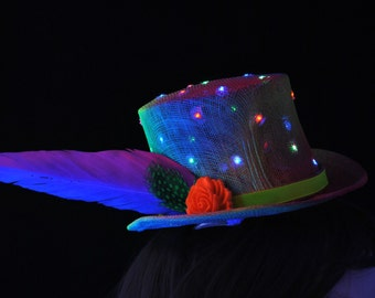 Light-up festival hat, UV fascinator, rave hat, neon clubbing wear, ultra-violet hat, burlesque headdress, mardi gras hat, races fascinator