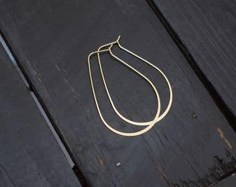 Hammered Teardrop Brass Hoop Earrings,2pcs
