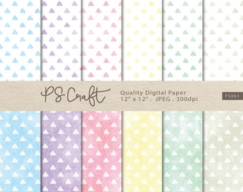 Watercolor Triangle Digital Papers, Triangle Background,  Triangle Clip Art, Triangle Papers