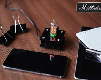 IN-14 single digit NIXIE tube clock assembled with black acrylic enclosure and adapter by MILLCLOCK warranty