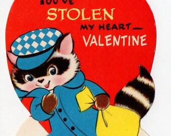 Vintage Bandit Raccoon Valentine |  Antique Thief Criminal Raccoons Cute Animal Animals Anthropomorphic | Paper Ephemera