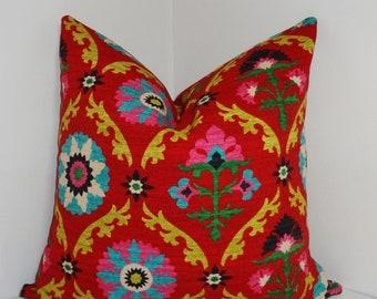SIZZLING SUMMER SALE Waverly Mayan Medallion Desert Flower Pillow Cover Decorative Pillow Throw Pillow 18x18