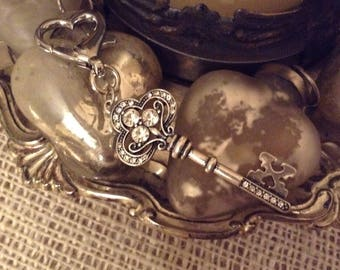 Silver Key with Crystals Zipper Pull / Clip On