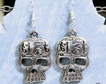 13 Engraved Filligree Sugar Skull Drop Dangle Day of the Dead Earrings in Bronze or Silver
