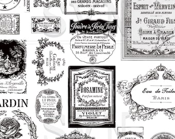19 Antique French Perfume Labels - 19 different designs - 2 A4 digital collage sheet - Instant Download