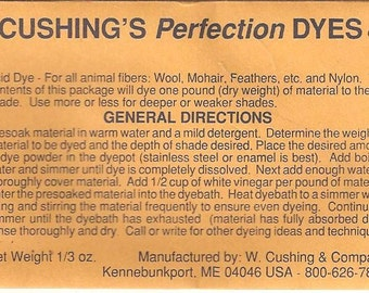 "W. Cushing & Co ""Perfection"" Acid Dye, 1/3 ounce packages YOU PICK Your Colors!"