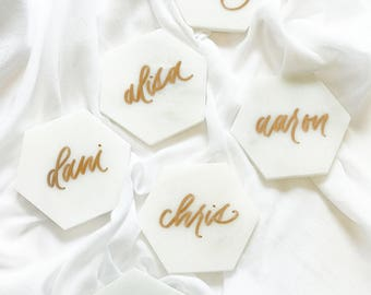 Marble Hexagon Place Cards - Calligraphy Marble Escort Cards - Hand Lettered - Hawaii Calligraphy