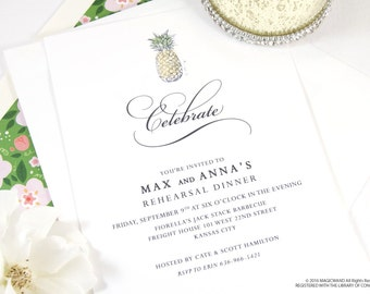 Pineapple Destination Weddings Rehearsal Dinner Invitations (set of 25 cards)