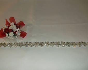 Silver/Rhinestone Beaded Flower Trim