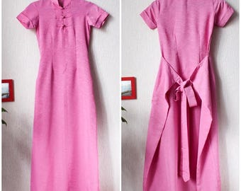 90s Cheongsam pink teenage Chinese dress Summer fitted pink girls dress XXS size very small Long pink dress Mandarin collar Asian dress 90s