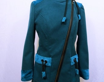 elegant women's coat and warm green duck
