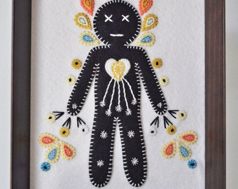 Radiant, embroidery wall hanging shadowbox, radiant heart, spiritual journey, mystical decor, cinco de Mayo, hand sewn, OOAK