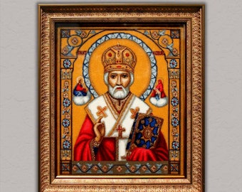 Embroidered painting, handmade, cross stitch, picture, icon
