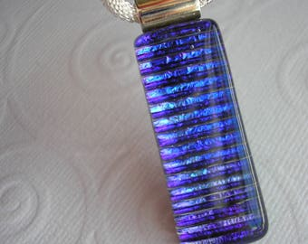 Blue Violet Stripe Pendant, Dichroic Fused Glass, Jewelry Purple, Dichroic Necklace, Silver Mesh Cord, Dichronic Pendant, Iridescent Glass