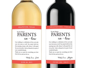 Gift for Parents of the Bride and Groom  Wine labels - Mother in law and Father in law