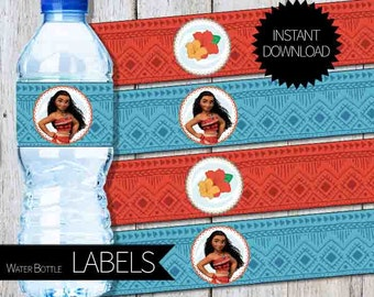 Moana Birthday Party PRINTABLE Water Bottle LABELS- Instant Download | Disney| Princess Moana| Luau