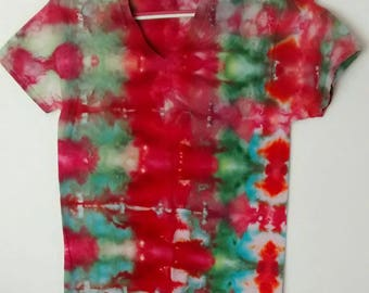 Ice Dyed Tee Shirt Red Green Aqua men's size Small