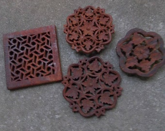 4 Carved Teak Trivets Carved Wood Trivets Mid Century Modern Kitchen Decor