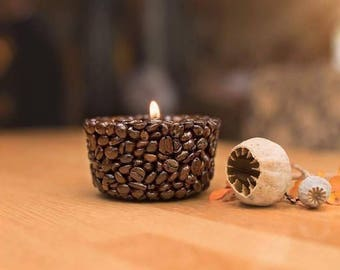 Coffee Bean Tealight Holder - Small Round, Candle Holder, Home Décor