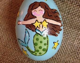 """3.25"""" Mermaid egg, Easter egg, personalized wooden egg,"""