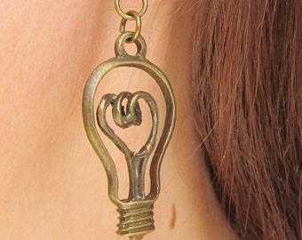 Steampunk Earring Edison LightBulb Earring Teacher Earring Teacher Gift Science Jewelry School Lightbulb Jewelry Science Gift Edison Earring