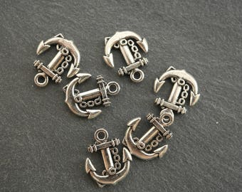 A charm anchor silver color 18 x 15 mm pendant