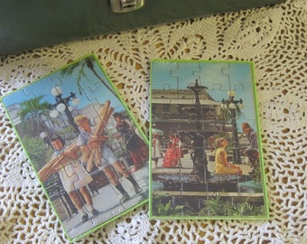 Two Vintage Mail a Puzzle Postcards with Retro Photos by Comon Tatar