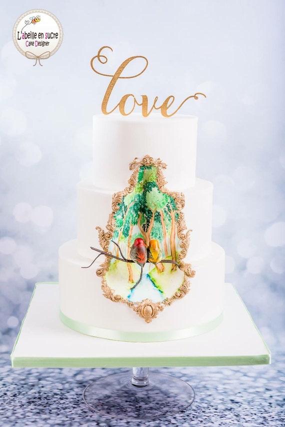 Love Cake Topper, Wedding Cake Topper, Glitter Cake Topper, Rose Gold Cake Topper, Gold Cake Topper, Silver Cake Topper, Wooden Cake Topper
