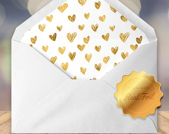 Foil Lined Envelopes - White A7 envelopes- (set of 10)- Wedding envelopes- luxury envelopes- 5x7 envelopes- envelope liners