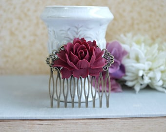 Maroon Rose Flower Burgundy Red Antiqued Brass Hair Comb, Bridesmaids Gift, Wedding Hair Comb, Bridal Hair Comb, Wedding Hair Accessories
