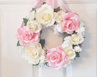"Garden Roses Wreath 13"" Custom Handmade Pink Cream Hydrangeas Floral Design Romantic Shabby Chic Cottage French Rustic Garden Wedding"