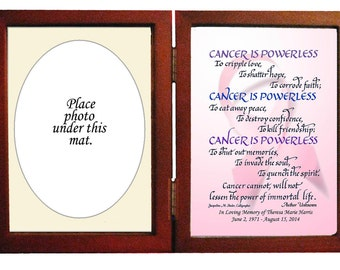 Breast Cancer Personalized Memorial Sympathy gift hinged frame with mat for photo