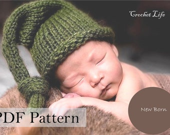 PDF Pattern, Knitting pattern, Knit baby hat, Newborn Photo prop, Knit your own, Elf hat, Newborn Pattern