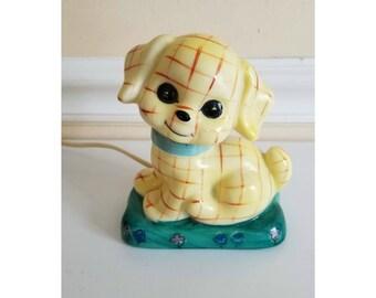 Vintage Puppy Night Light Lamp, Tartan Puppy  Lamp, Dog  Night Light, Nursery Lamp, Dresser Lamp, Childrens Lamp, Kitschy Cute, 1960s