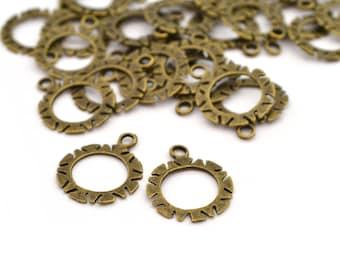 2 charms rings 19mm metal bronze