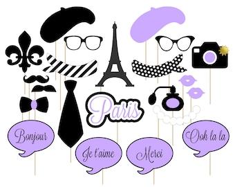 Printable Paris Photo Booth Props . Paris . Parisian . France . French . Purple/Black . Instant Download