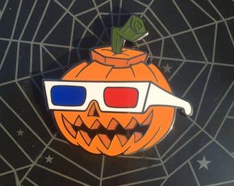 Vintage 3D Glasses Jack-o-lantern Pumpkin Enamel Pin
