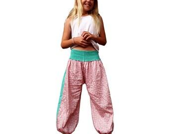 Aladdin girl's summer pants, girl's harem pants, old pink print and plain turquoise, ethnic pants, boho for girls, summer pants,  Aummade