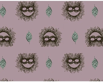 Owl and Leaves in Mauve French terry