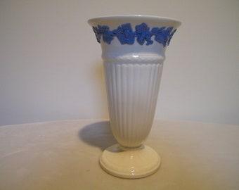 Vintage Wedgwood Queensware Lavender on Cream Trumpet Bouquet Vase