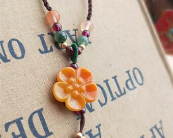 jade sunflower  jadeite green white yellow Burma beads necklace handmade rope
