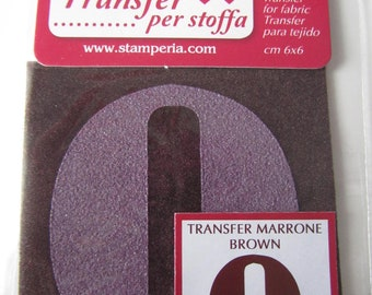 Transfer for fabric - letter O - brown color - 6 cm x 6 cm