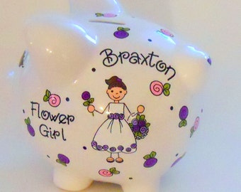 Personalized Flower Girl Gift Piggy Bank