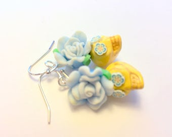Sugar Skull Earrings Day of the Dead Skull and Rose Earrings in Yellow and Baby Blue