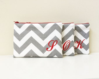 Set of 3 - Will you be my Bridesmaid - Maid of Honor - Cosmetic bag - Wallet - Bridesmaid bag - Monogram makeup bag - Make up pouch - Medium