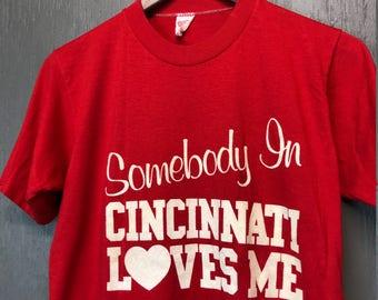 S vintage 80s Somebody In Cincinnati Loves Me t shirt