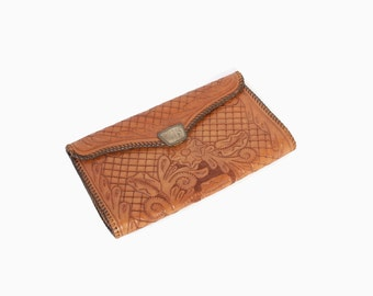 Vintage 40s CLUTCH / 1940s Tooled Leather & Diablo STERLING Silver Clasp Purse
