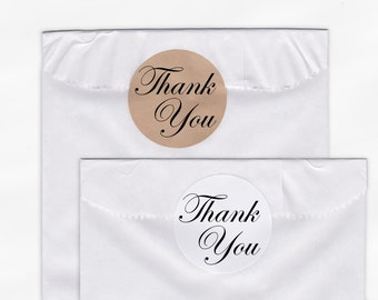 Thank You Wedding Favor Stickers - Custom White Or Kraft Round Labels for Bag Seals, Envelopes, Mason Jars (2002)