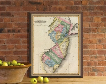 Old map of New Jersey  - Vintage map print - New Jersey  map reproduction