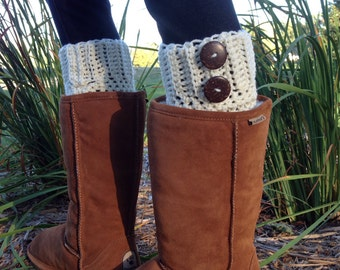 Womens Boot Cuffs With Buttons, Crochet Women's Boot Cuff, Leg Warmer, Boot Topper - ANY COLOR